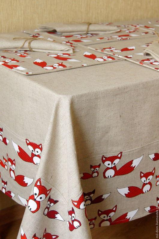"""Текстиль, ковры ручной работы. Ярмарка Мастеров - ручная работа. Купить Комплект """"Милые лисички""""( льняная скатерть, салфетки, ланчматы). Handmade."""