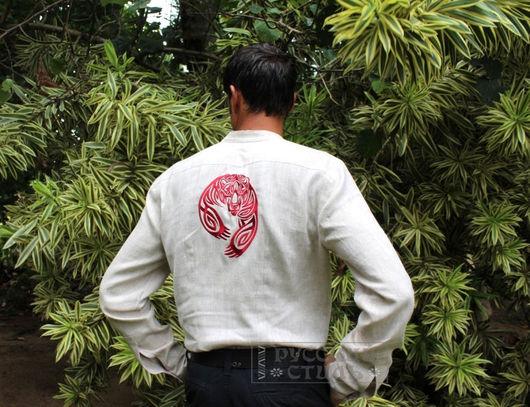 """Для мужчин, ручной работы. Ярмарка Мастеров - ручная работа. Купить Рубаха """"Печать Велеса"""". Handmade. Бежевый, льняная одежда"""