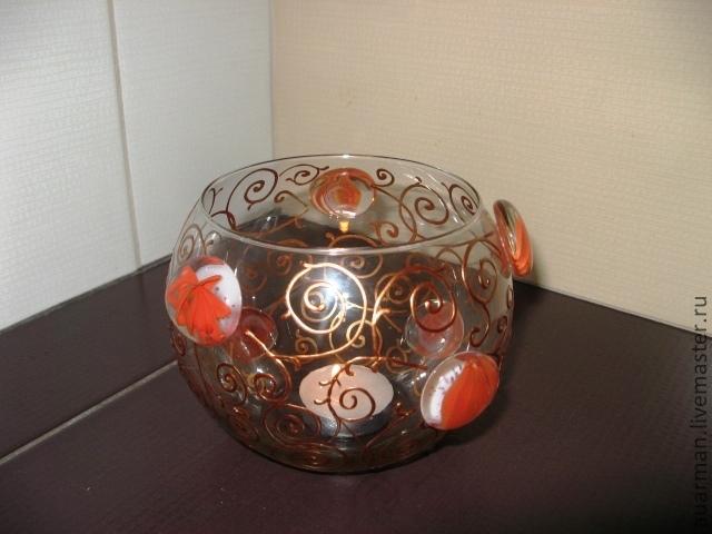 Стеклянная круглая ваза - подсвечник Восточный узор
