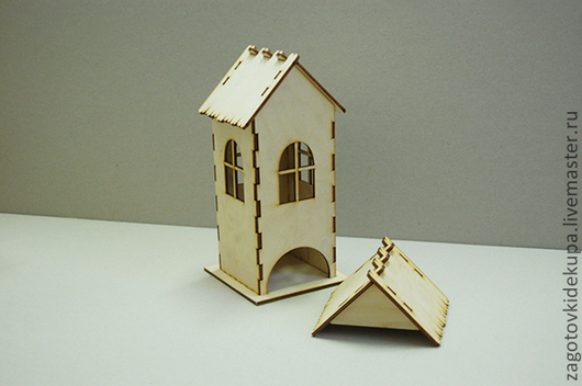 Чайный домик `Окна` (продается в разобранном виде в палетах) Размеры:  габарит - 11х11х22 см домик - 8,5х8,5х21,5 см,  подставка - 11х11 см Материал: фанера 3 мм