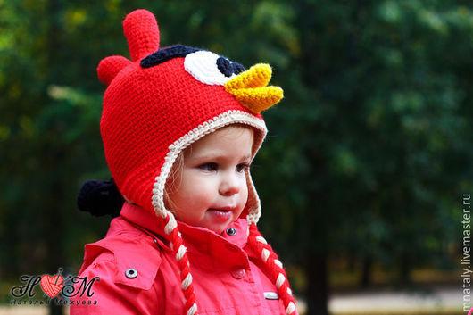 Шапки и шарфы ручной работы. Ярмарка Мастеров - ручная работа. Купить Шапочка Angry Birds. Handmade. Ярко-красный, для девочки
