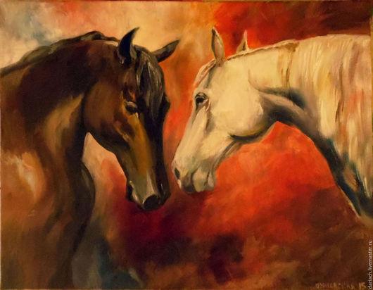 """Животные ручной работы. Ярмарка Мастеров - ручная работа. Купить картина маслом """"лошади"""". Handmade. Картина, холст масло, лошади"""