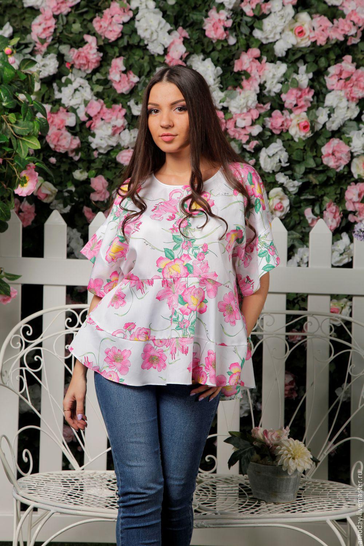 4816c55dad6c1cf блузка свободного силуэта с цветочным принтом из дизайнерского материала  хлопок+шелк блузка оверсайз блузка летняя ...