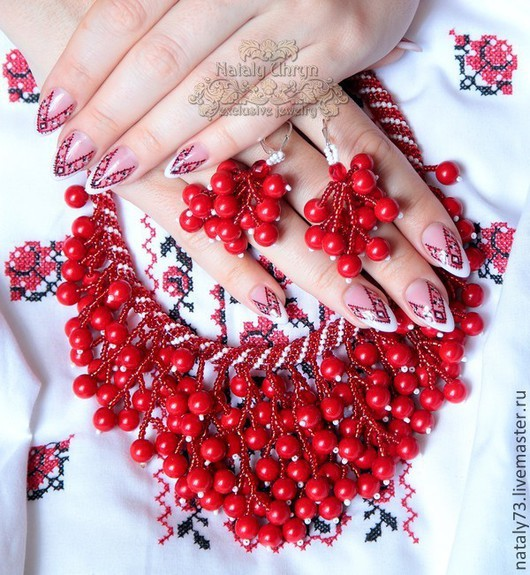 Necklaces & Beads handmade. Livemaster - handmade. Buy necklace 'kalina' ( three options).Embroidery, ukrainian costume, coral