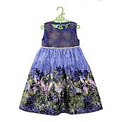 Работы для детей, handmade. Livemaster - original item Fancy dress for girls with fairies on a lilac background. Handmade.