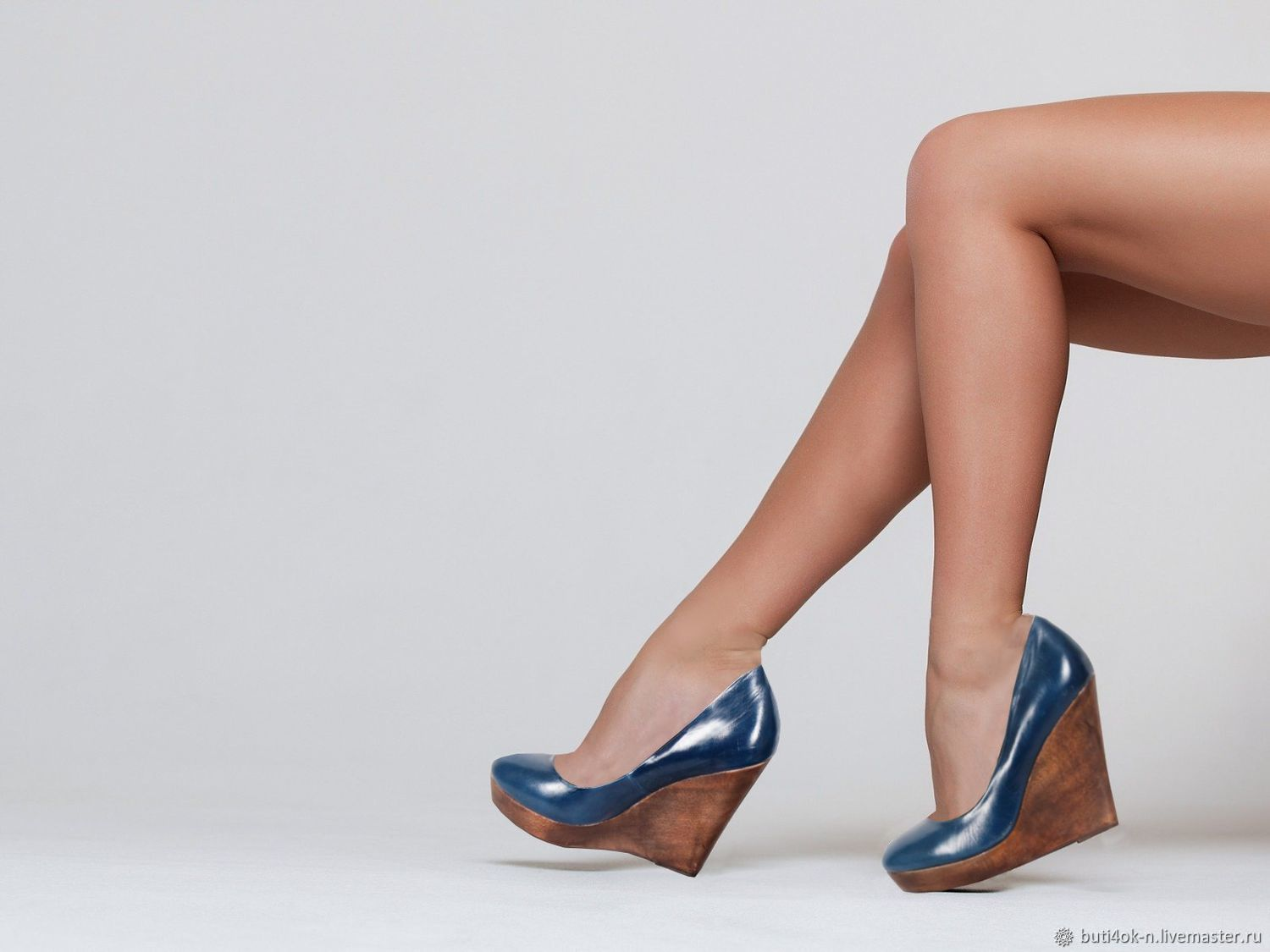 40 size! Blue shoes from nature.leather on wedge, Vintage shoes, Nelidovo,  Фото №1