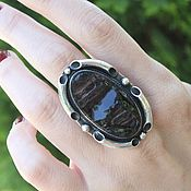 Украшения handmade. Livemaster - original item Ring with untreated obsidian in 925 silver ALS0018. Handmade.