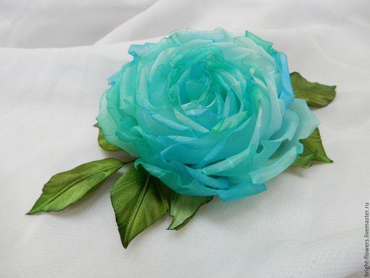 """Цветы ручной работы. Ярмарка Мастеров - ручная работа. Купить Брошь """"Утренняя прохлада"""". Handmade. Мятный, роза из шелка"""