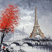 Картины и панно ручной работы. Ярмарка Мастеров - ручная работа Париж. Вид на Эйфелеву башню через Сену. Красно-черная версия N3. Handmade.