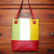"Сумки и аксессуары handmade. Livemaster - original item Leather colourful tote  bag ""Red green and yellow squares"". Handmade."