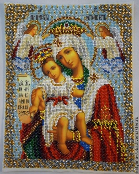Иконы ручной работы. Ярмарка Мастеров - ручная работа. Купить Богородица Милующая (Достойно есть). Handmade. Разноцветный, икона бисером