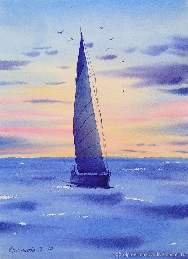 Watercolor sea Painting sea yacht ship steam small seascape, Pictures, Moscow,  Фото №1