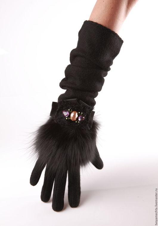 """Варежки, митенки, перчатки ручной работы. Ярмарка Мастеров - ручная работа. Купить """"Красотка"""". Перчатки в стиле D. Handmade. Черный"""