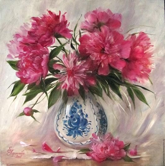 Картины цветов ручной работы. Ярмарка Мастеров - ручная работа. Купить Пионы в вазе. Handmade. Фуксия, подарок девушке, подарок