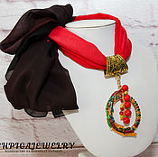 Украшения handmade. Livemaster - original item Set of scarf and pendant for scarf with coral