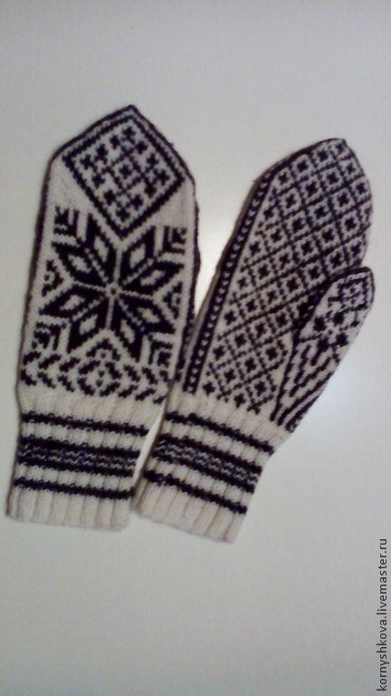 """Варежки, митенки, перчатки ручной работы. Ярмарка Мастеров - ручная работа. Купить варежки """"Снежинка-2"""" ручная работа жаккардовые с норвежским арнаментом. Handmade."""