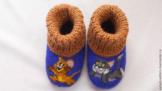 """Для новорожденных, ручной работы. Ярмарка Мастеров - ручная работа. Купить Валяные пинетки  """"Том и Джерри"""". Handmade. Синий"""
