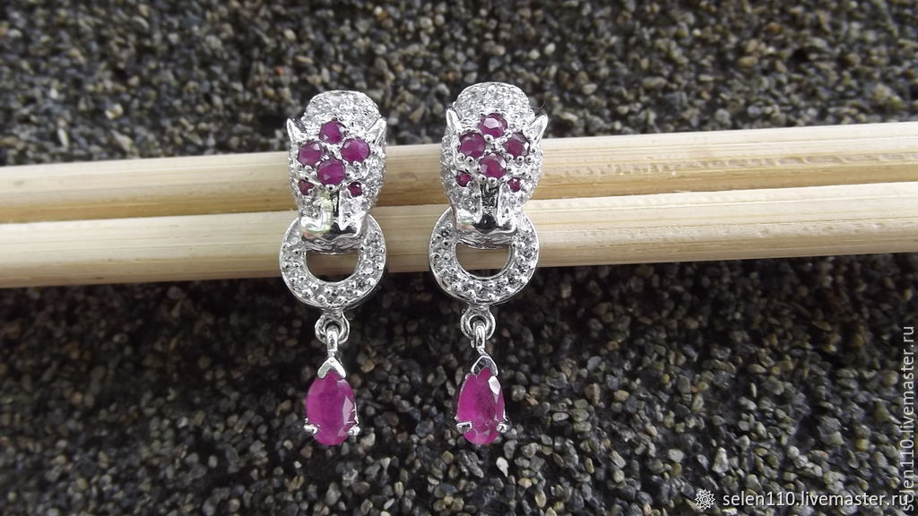 Earrings 'Instinct' with natural rubies, Earrings, Voronezh,  Фото №1