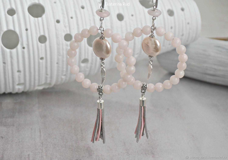 Pink ring earrings with tassels ' Delicate wings', Tassel earrings, Moscow,  Фото №1
