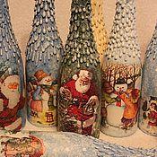 Подарки к праздникам ручной работы. Ярмарка Мастеров - ручная работа Декор новогодней  бутылки. Handmade.