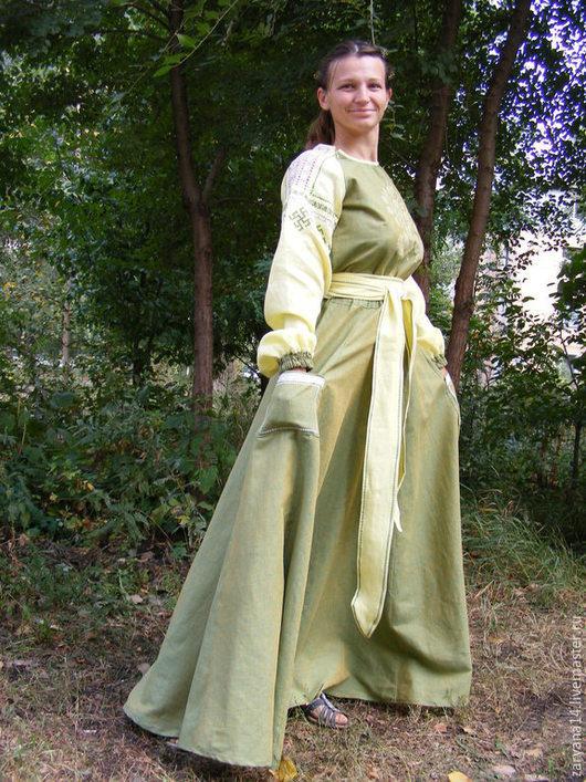 """Платья ручной работы. Ярмарка Мастеров - ручная работа. Купить Вышитое платье """"Прекрасное"""". Handmade. Зеленый, платье в пол"""