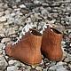 Ботиночки без каблука высокие из кожи питона Бежевые