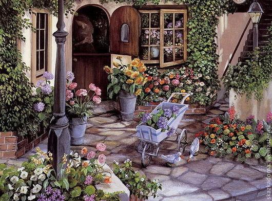 """Вышивка ручной работы. Ярмарка Мастеров - ручная работа. Купить Принт большой для вышивки лентами """"Цветы во дворе"""". Handmade. Разноцветный"""