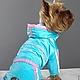 """Одежда для собак, ручной работы. Комбинезон """"Бирюза"""". Лиля Одежда для собак. Интернет-магазин Ярмарка Мастеров. Бирюзовый, йорк, плащовка"""