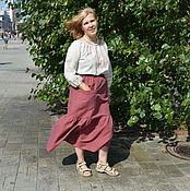Одежда ручной работы. Ярмарка Мастеров - ручная работа Юбка изо льна с хлопком Мария. Handmade.