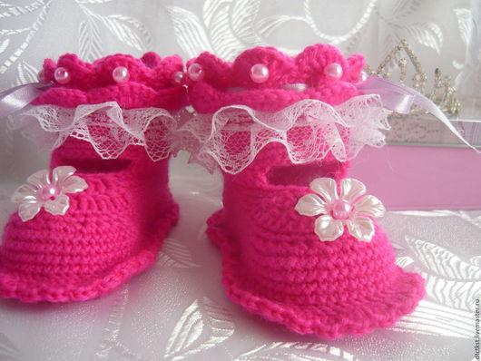 Детская обувь ручной работы. Ярмарка Мастеров - ручная работа. Купить Пинетки для девочки.Нарядные пинетки,(0-3мес). Handmade.
