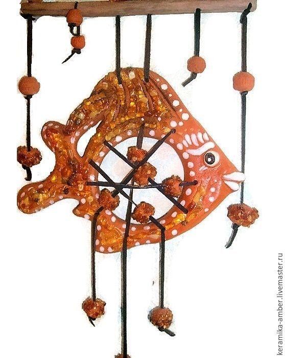 Fish Catcher ceramic amber panel decoration on the wall, Suspension, Kaliningrad,  Фото №1