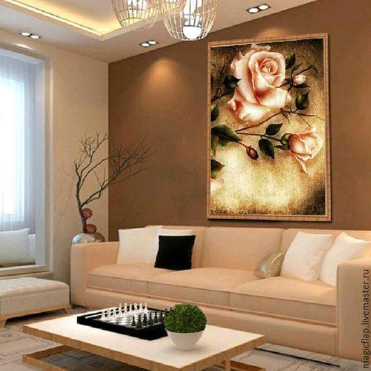 Вышивка ручной работы. Ярмарка Мастеров - ручная работа. Купить Алмазная вышивка (мозаика) Розы Ретро. Винтажная картина для интерьера. Handmade.
