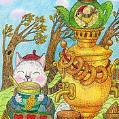 Картины и панно handmade. Livemaster - original item Tea on a windy day. Painting for the nursery.. Handmade.