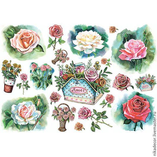 Декупаж и роспись ручной работы. Ярмарка Мастеров - ручная работа. Купить Цветы рисунок (CP05610) - рисовая бумага, А3. Handmade.