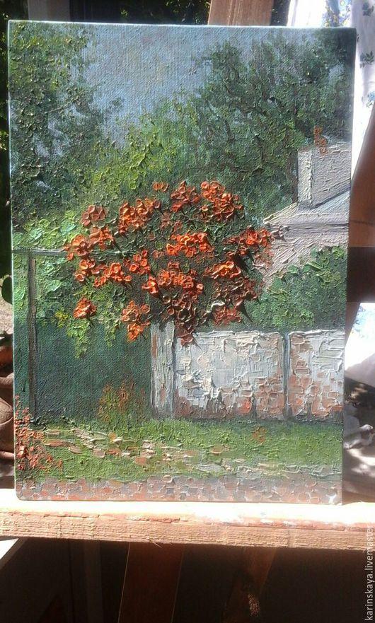 Пейзаж ручной работы. Ярмарка Мастеров - ручная работа. Купить Калиточка на улице Чапаева, г. Новороссийск. Handmade. Мятный