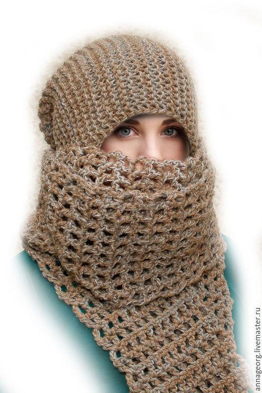 Шапки ручной работы. Ярмарка Мастеров - ручная работа. Купить Комплект Шапка-бини + шарфик-сетка. Handmade. Комбинированный