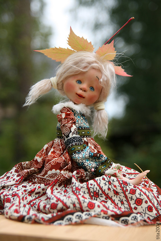 Коллекционные куклы ручной работы. Ярмарка Мастеров - ручная работа. Купить Девочка-осень. Handmade. Белый, ручная работа
