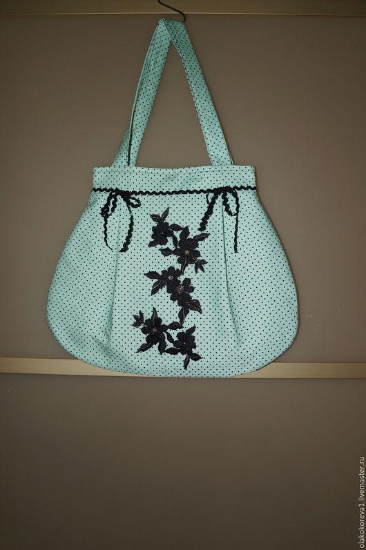 Женские сумки ручной работы. Ярмарка Мастеров - ручная работа. Купить Сумка мятная в горошек. Handmade. Мятный, сумка женская