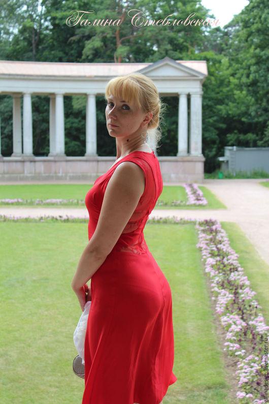 Платья ручной работы. Ярмарка Мастеров - ручная работа. Купить Коктейльное красное платье. Handmade. Ярко-красный, Коктейльное платье