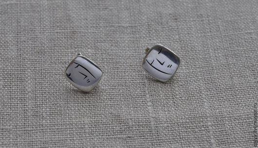 """Серьги ручной работы. Ярмарка Мастеров - ручная работа. Купить Серьги """"Лица"""" маленькие квадратные. Handmade. Серебряный, earrings"""