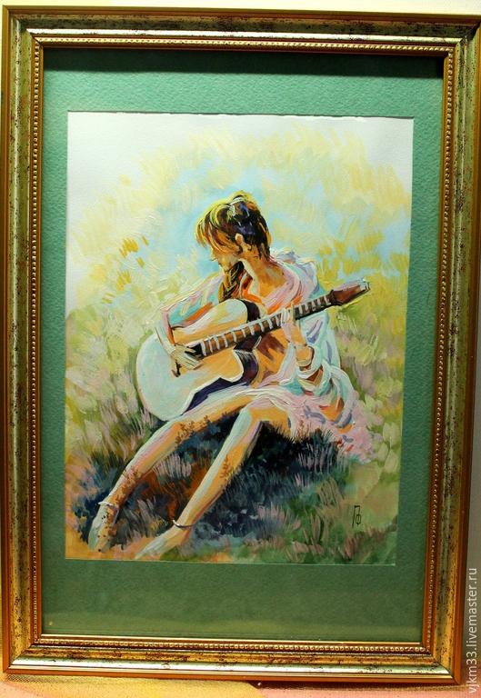Люди, ручной работы. Ярмарка Мастеров - ручная работа. Купить Девушка с гитарой. Handmade. Морская волна, девушка, солнечный