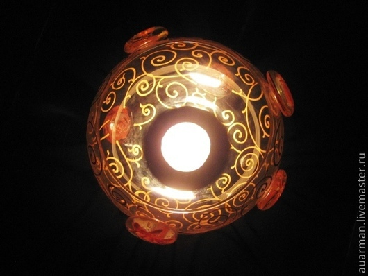 Вазы ручной работы. Ярмарка Мастеров - ручная работа. Купить Стеклянная круглая ваза - подсвечник Восточный узор. Handmade. Оранжевый