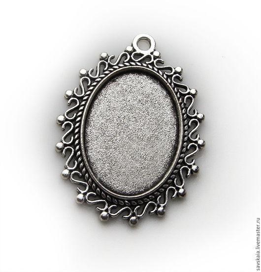 Подвески овальные с рамкой для кабошона, Цвет античное серебро, для украшений