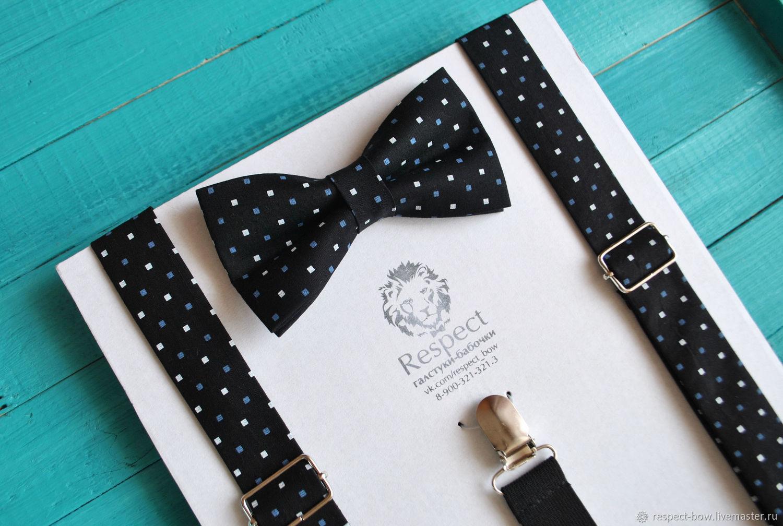 Черные подтяжки в комплекте с галстук бабочкой черного цвета Виконт