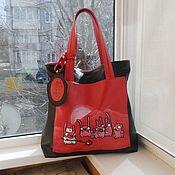 Сумки и аксессуары handmade. Livemaster - original item Bag leather double-sided with painting to order for Elena.. Handmade.