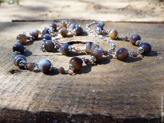 Длинные бусы, браслет, натуральные камни, агат ботсвана, агат бразильский