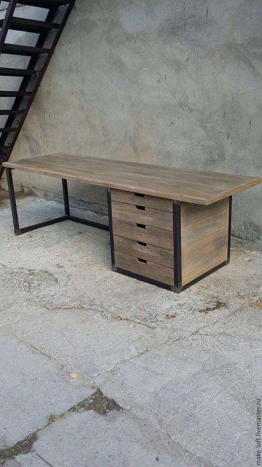 Мебель ручной работы. Ярмарка Мастеров - ручная работа. Купить Стол письменный с тумбой в стиле Лофт. Handmade. Стол, металл