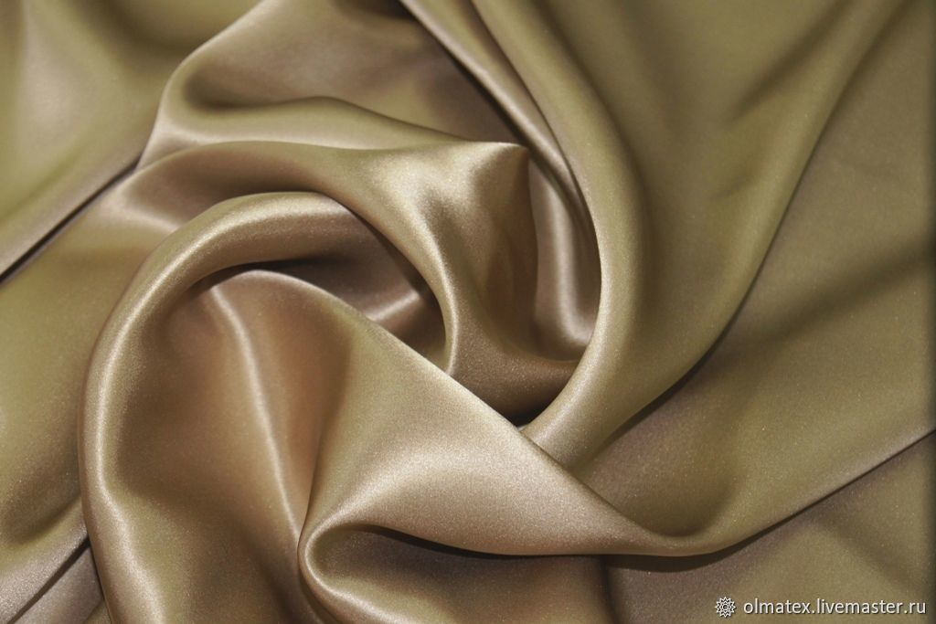 Атлас шелковый цвет капучино, Ткани, Москва,  Фото №1