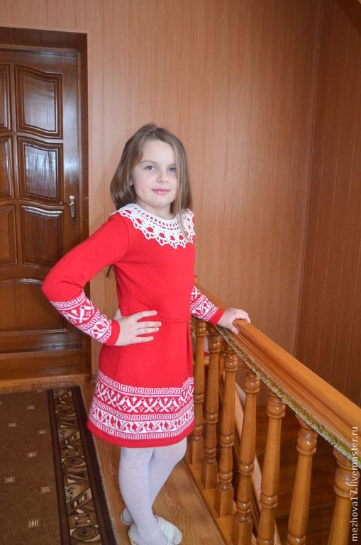 Одежда для девочек, ручной работы. Ярмарка Мастеров - ручная работа. Купить Вязаное платье для девочки с жаккардом. Handmade. Платье