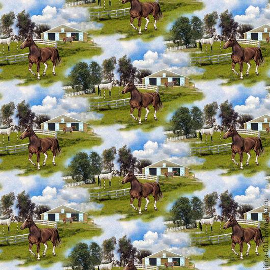 Шитье ручной работы. Ярмарка Мастеров - ручная работа. Купить Мир лошадей. Хлопок панель 60х110 см.. Handmade. Панель